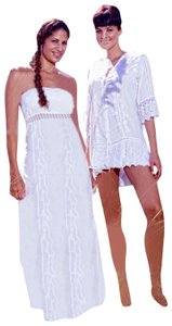 White Maxi Dress by Lirome Embroidered Crochet Summer Unique Cottage Chic
