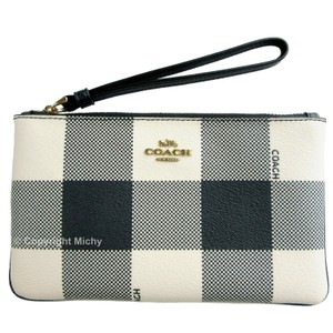 Coach Coated Canvas Gingham Plaid Wristlet in Midnight Multi (Navy Ivory)