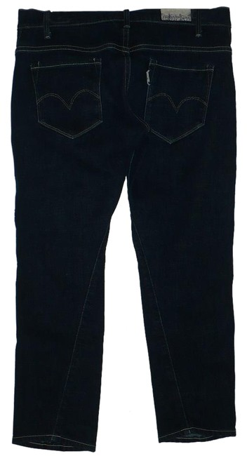 """Item - Blue Dark Rinse Limited Edition """"Capital E"""" Low Skinny Twisted Capri/Cropped Jeans Size 28 (4, S)"""