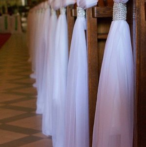White and Silver Ceremony Or Reception Aisle Runner