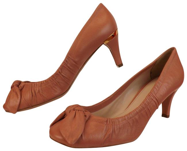 Item - Pink 1i284c Washed Leather Bow Mid Heel Gold Plate Logo Pumps Size EU 40 (Approx. US 10) Regular (M, B)