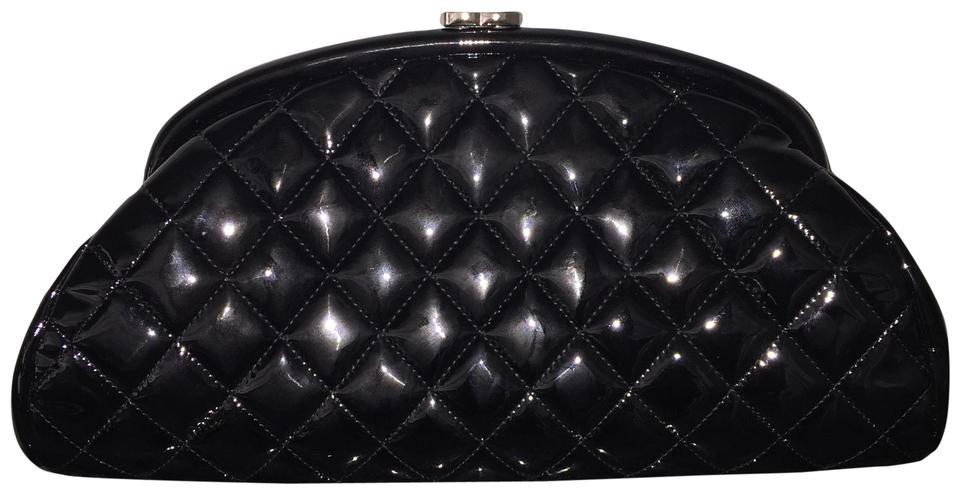 2f9cc690578e Chanel Timeless Quilted Patent Shw Silver Hardware ((Amazing Condition))  Black Leather Clutch
