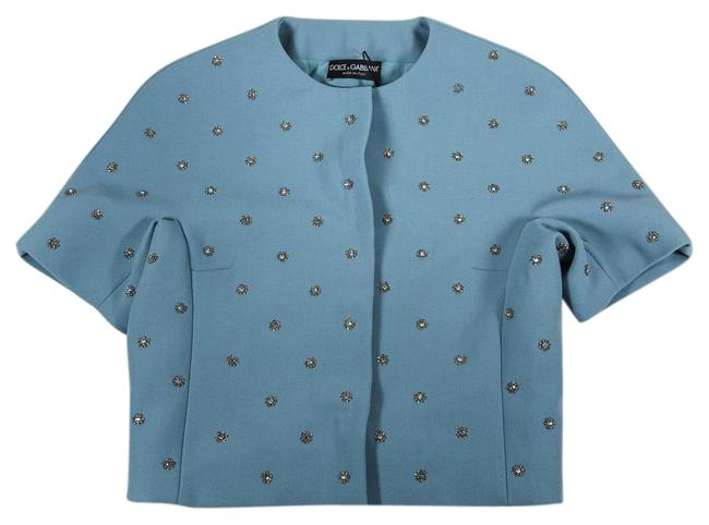 Dolce&Gabbana Blue Embellished Button-down Top Size 4 (S) Dolce&Gabbana Blue Embellished Button-down Top Size 4 (S) Image 1