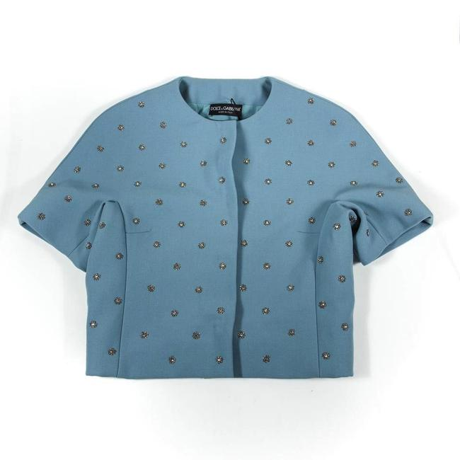 Dolce&Gabbana Blue Embellished Button-down Top Size 4 (S) Dolce&Gabbana Blue Embellished Button-down Top Size 4 (S) Image 3