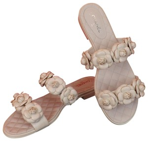 Chanel Flowers Bow Slides Flops G34024 White Mules