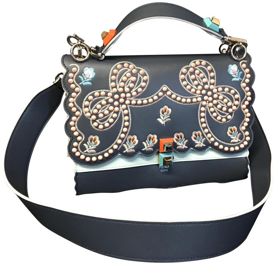 093f8e58cfef Fendi Kan I Studded Bows Scalloped Blue Leather Shoulder Bag 67% off retail