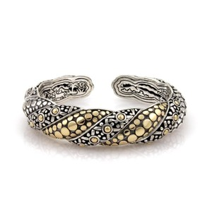 John Hardy Jaisalmer Sterling 18k Yellow Gold Twist Kick Dot Cuff Bracelet