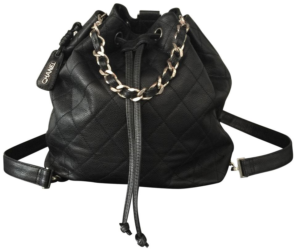 23760a42a3a9 Chanel Bucket Bag Drawstring Quilted Caviar Silver Hardware Shw Black  Leather Backpack