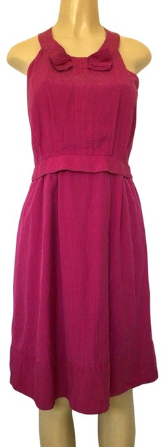 Item - Pink Fuchsia Sleeveless Bow Fit & Flare Striped Knee Mid-length Short Casual Dress Size 8 (M)