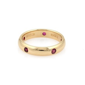 Cartier Stella Ruby 18k Gold 4mm Wide Dome Band Ring Size 51-US 5.5 Cert.