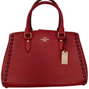 Coach Leather Top Handle Everyday Satchel in Red