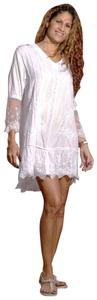 Lirome short dress White Lace Cottage Chic Resort Organic Cotton Ibiza on Tradesy