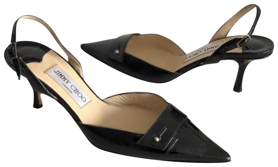 Jimmy Choo Black Black Choo Leather Slingback Pumps f60b76