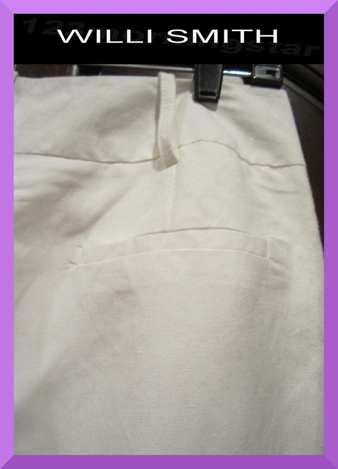 2f56a96dda2 Willi Smith White Crisp Linen Wrinkle Control Flare Dress Pants Size ...