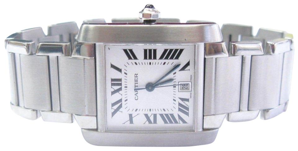 956a74e6abd Cartier Silver Tank Francaise Stainless Steel Large Size Ref 2302 ...
