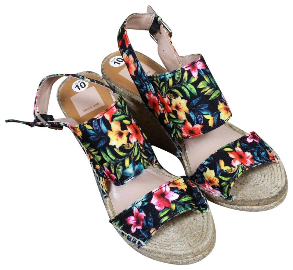 ec559ba4aeed Dolce Vita Multi-color Tropical Flower Espadrille Wedge Sandals Size ...