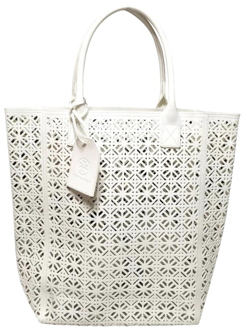 Item - Lace Design White Faux Leather Tote