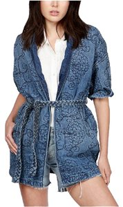 Lucky Brand Quilted Kimono Fall Denim Womens Jean Jacket