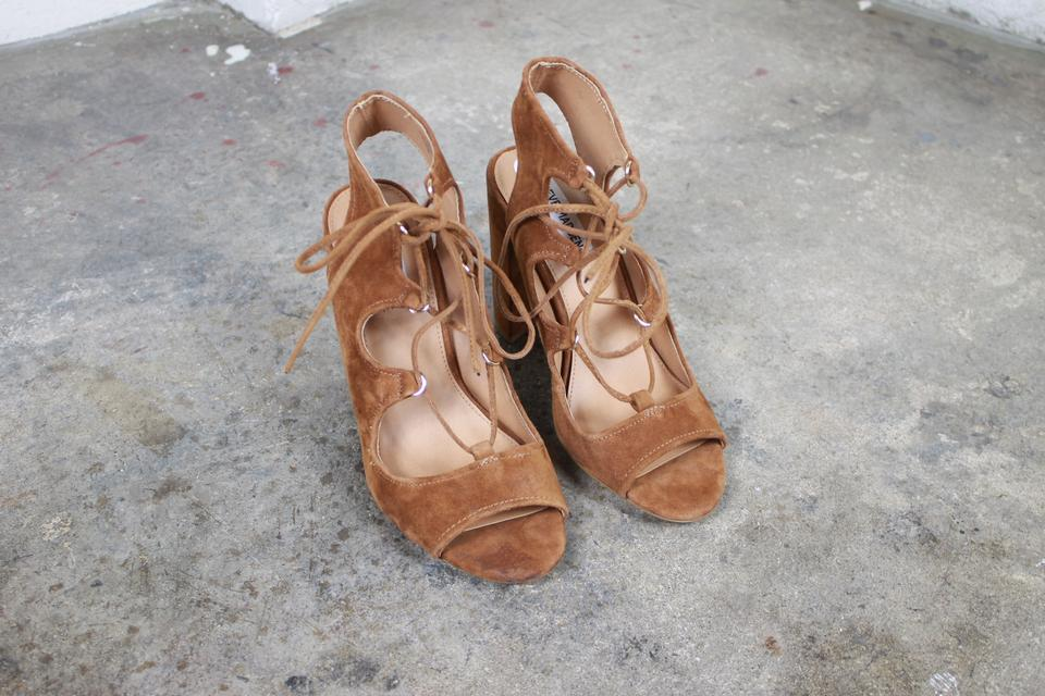 547adc0e2191 Steve Madden Brown Aryah Suede Lace Up Heeled Sandals Size US 9 Regular (M