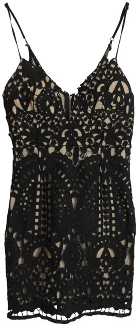 Item - Black Nude Medium Sexy Figure Flattering with Stret Short Night Out Dress Size 8 (M)