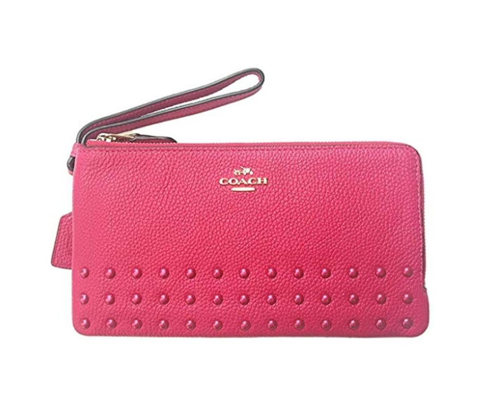 608540925 Coach Cerise Pink Lacquer Rivets Double Zip Pebble Leather 54709 Wallet