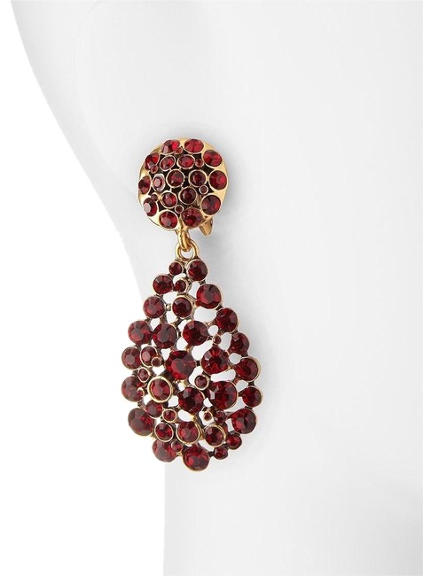Item - New Signed Red and Plum Swarovski Crystal Large Teardrop Clip Earrings