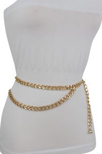 Alwaystyle4you Women Belt Gold Thick Metal Chunky Chain Link Side Wave Detail XS-M