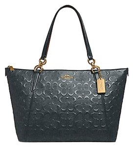 Coach Satchel Leather Satchel 58318 Caoch Ava Tote in midnight gold