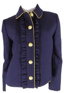 J.Crew J.Crew Women's 6 Navy Lady Jacket With Ruffles Gold Buttons Wool Blend