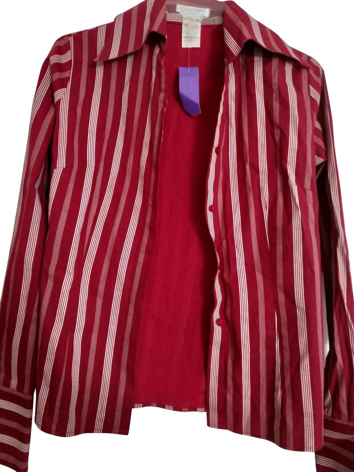 hot sale online bf388 682cd Naracamicie Red White Yellow Iii In Italy Striped Cotton Shirt Blouse Size  10 (M)