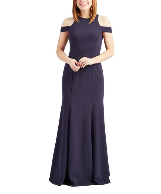 Item - Navy Cold Shoulder Cutout Gown Long Formal Dress Size 2 (XS)