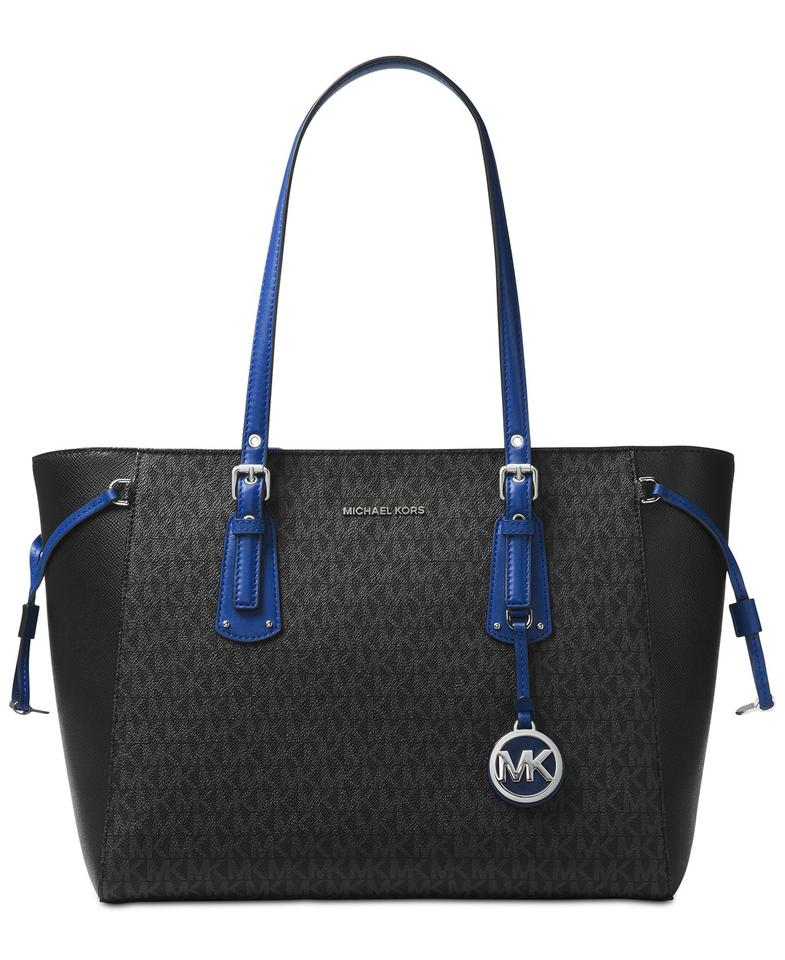 e5da10126b62 Michael Kors Signature Voyager Multifunction Tote in Black and Electric  Blue Image 0 ...