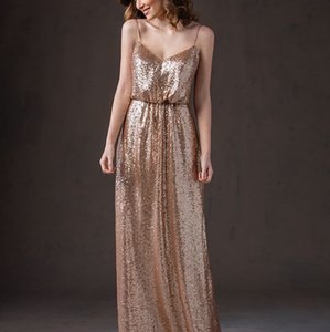 Belsoie Rose Gold Sequin Long V-neck with Spaghetti Straps Traditional Bridesmaid/Mob Dress Size 20 (Plus 1x)