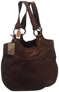 Fossil Leather Woven Studded Tote in Brown