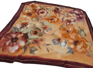 Fabris Made in Italy Fabris Bronze Floral 100% Silk Scarf