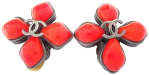 Chanel Chanel CC logo orange color stone clips earrings