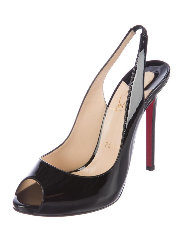 los angeles e104d 0658f Christian Louboutin Black New Peep-toe Slingback 10 Pumps Size EU 40  (Approx. US 10) Regular (M, B) 35% off retail