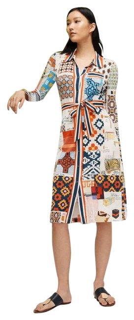 Item - Multi Color Laurence Printed Shirtdress Mid-length Formal Dress Size 4 (S)
