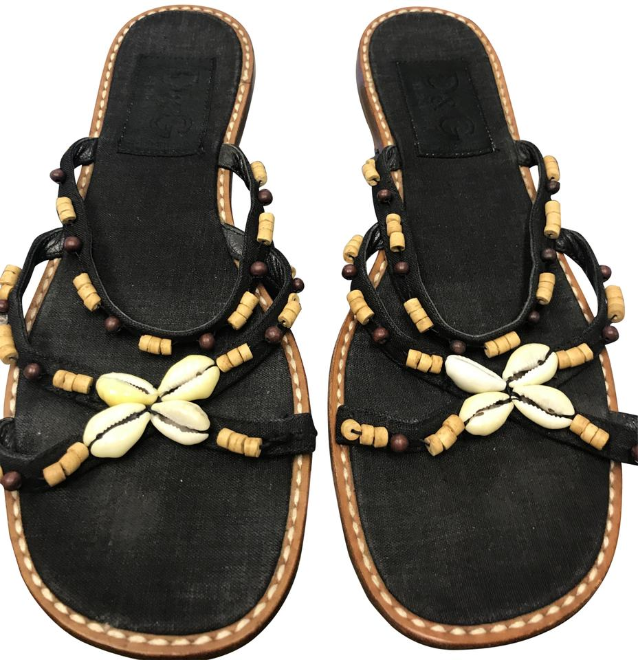 Dolce&Gabbana Black Dolce Open & Gabbana Beaded Strappy Open Dolce 7 Sandals ad6991