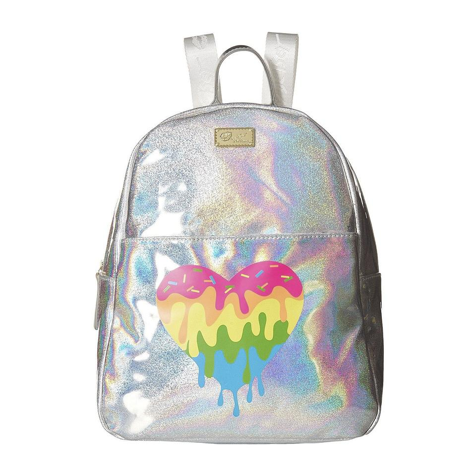 e4d93113a7 Betsey Johnson Mariss Rainbow Heart Iridescent Silver Metallic Multicolor  Faux Leather Backpack