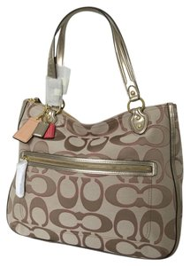 Coach Poppy Signature Metallic Hallie Tote in pink cream light khaki rose