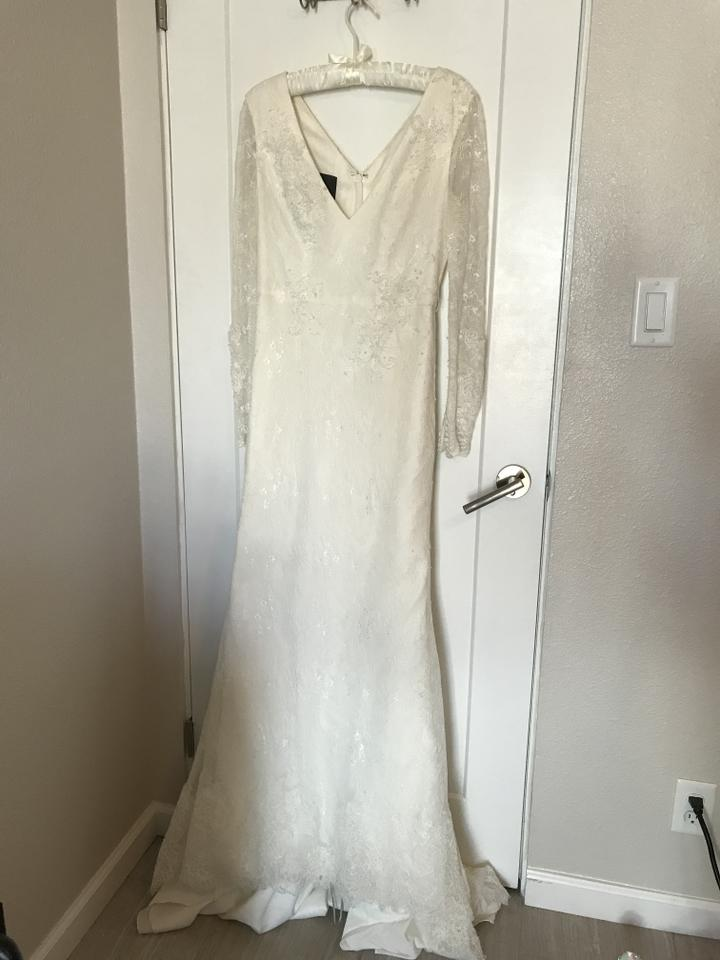 441138e8e0c8 White by Vera Wang Ivory Lace Layers with Vw351270 Traditional Wedding  Dress Size 10 (M. 123456