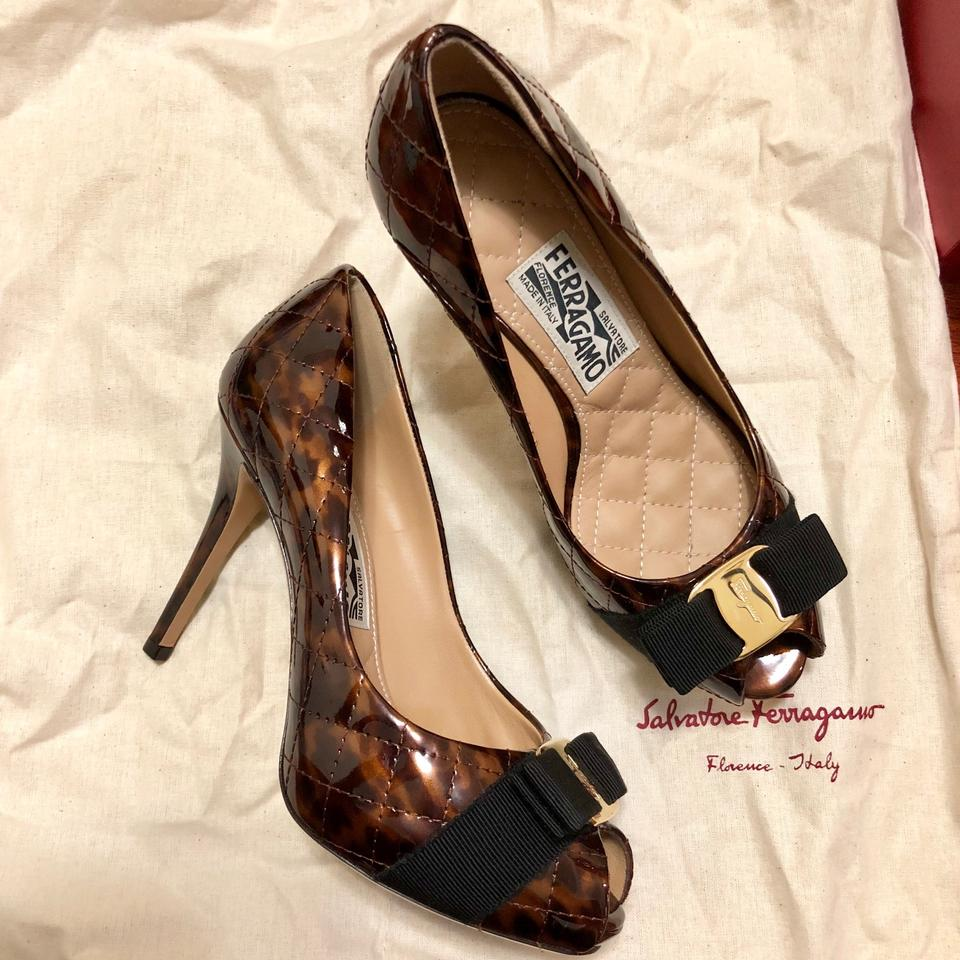 528f7269e019 Salvatore Ferragamo Brown Miss Vara Patent Leather Open Toe ...