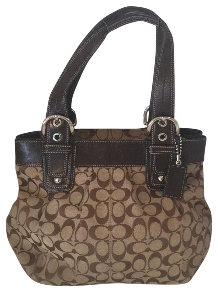 5edd39946f Coach Soho Pleated Monogrammed Tote Brown Canvas and Patent Leather ...