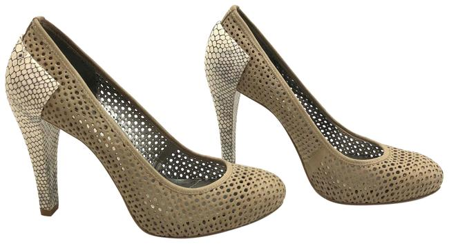 Item - Tan Perforated Suede and Snakeskin Platform Pumps Size US 9.5 Regular (M, B)