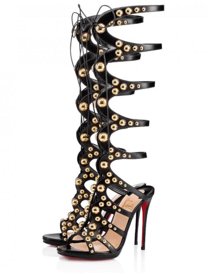 official photos ebea1 c254f Christian Louboutin Black Amazoutiful 120 Gold Studded Knee High Gladiator  Sandal Heel Pumps Size EU 38 (Approx. US 8) Regular (M, B)