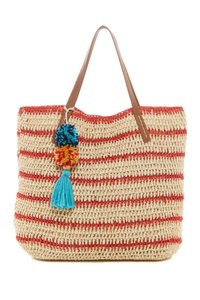 Straw Studios Pompom + Tassels Dual Top Handles Magnetic Closure Striped Super Fun Tote in Red