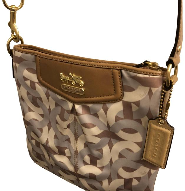 Item - Taupe/Silver/Cream Satin Cross Body Bag