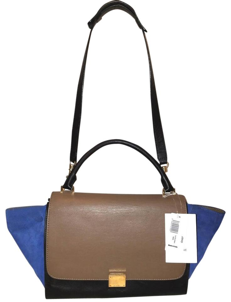 513636cff305 Céline Trapeze Extra-large Tri-color Convertible Handbag Black Brown and  Blue Calfskin Leather Suede Hobo Bag