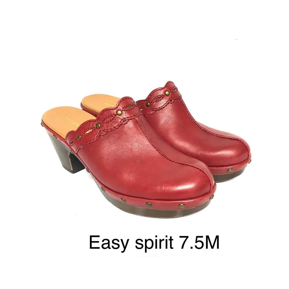 WOMENS Easy Spirit Red Leather Mules/Slides resistance Strong heat and heat resistance Mules/Slides 9d47af